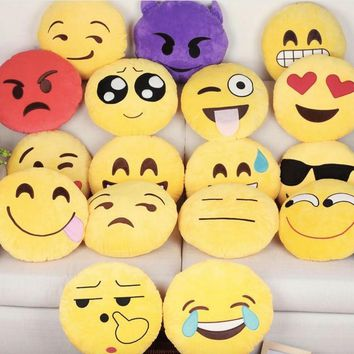Kawaii Cute Expression Emojis Face Smile Laugh Cry Naughty Emoji Pillow Massager Decorative Throw Pillows Warm Home Decor Gift