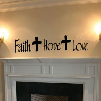 Faith Hope Love Crosses Vinyl Wall Words Decal Sticker Graphic