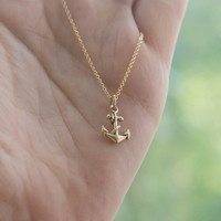 Tiny Anchor Necklace - Bronze Anchor Charm on 14K Gold-Filled Chain . Nautical Gift Ideas for Her . Outdoor & Sportsman