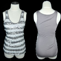 Summer Top Valerie Bertinelli Sz Small Gray Sequined Tank