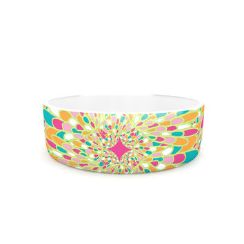 "Miranda Mol ""Flourishing Green"" Green Multicolor Pet Bowl"