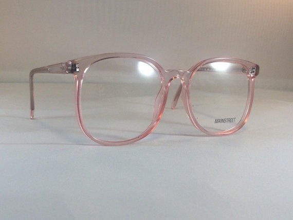 vintage pink eyeglass frames oversized eyeglasses light pink clear glasses clear lens demo