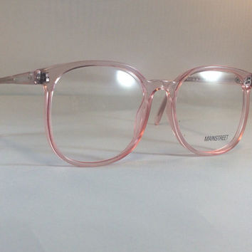 dc7efb68ebe Vintage Pink Eyeglass Frames - Oversized Eyeglasses - Light Pink Clear  Glasses - Clear
