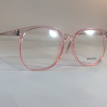 Vintage Pink Eyeglass Frames - Oversized Eyeglasses - Light Pink Clear Glasses - Clear Lens Demo Lenses - Deadstock New Old Stock