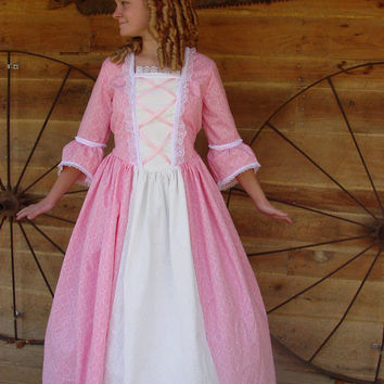 Historical Handmade Modest American Colonial Pioneer Girl -Pink Ball Gown- Child Sizes up to 14