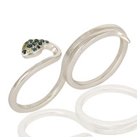 925 Sterling Silver Blue Topaz And Peridot Snake Two Finger Adjustable Ring