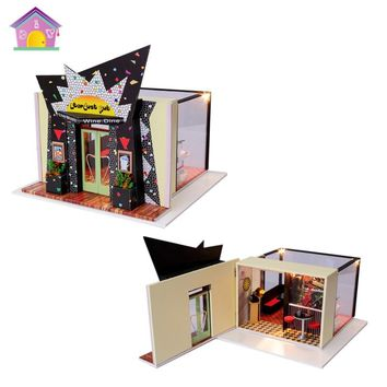 Stardust Pub House Mini Bar Miniature Dollhouse Furnitures,Birthday Gift DIY Wood Handmade Music Doll House Assembling Toy