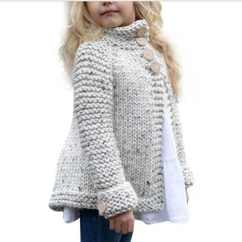 Girls Sweater Cardigan Coat knitted button Outerwear-Xmas baby clothing