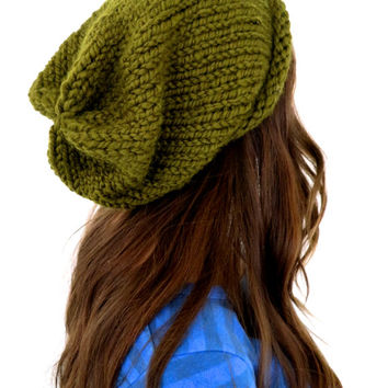 Chunky Soft Knit Slouchy Hat // Hipster Hat in Mother Nature // Many Colors and Vegan Options Available