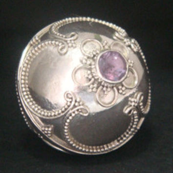 Large Harmony Ball Necklace solid 925 Sterling Silver casing with Balinese Motifs with a faceted Amethyst Gemstone on the under side, 297