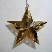 Star Moon Celestial Christmas Ornament Gold Metal Cut Outs Holiday Home Decor