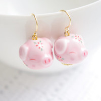 Pastel pink Kawaii lucky Ceramic pig earrings,ceramic jewellery,porcelain jewellery,for pig lovers,cute birthday gift,Christmas gift,for her