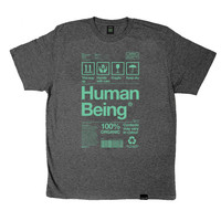 HUMAN BEING - Dark Grey Heather/Green T-shirt