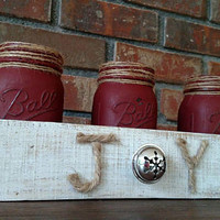 "Christmas Mason Jar Centerpiece - Christmas Centerpiece - ""Joy"" Centerpiece - Christmas Joy Centerpiece - Rustic Christmas Centerpiece"