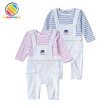 Fall Baby Striped Rompers Full Cotton Pretend Suspender Covered Button Diaper Jumpsuits Boys Girls Overalls Newborn Baby Clothes