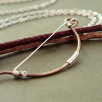 Archery bow necklace - Elven fantasy hunting weapon in antiqued brass and sterling silver - unisex