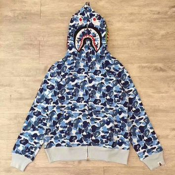 VXL8HQ BAPE ABC SHARK Casual Fashion Sport Camouflage Long Sleeve Hooded Sweater Blue G-CN-CFPFGYS