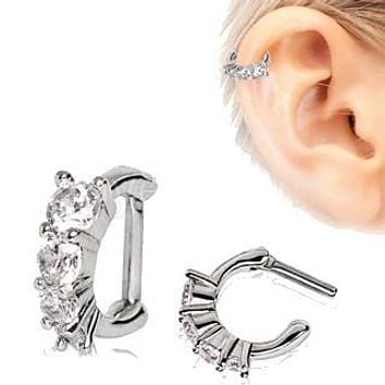 316L Stainless Steel Cascading CZ Cartilage Clicker Earring
