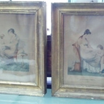 Pair of 19th C French Prints in Gilt frames