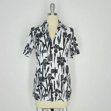 Vintage Polo Shirt / Black and White Iris Floral Print / Andrew St. John 1970s 70s / S