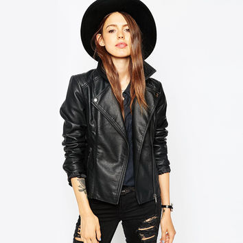 Black Notched Collar Faux Leather Oblique Jacket With Zipper