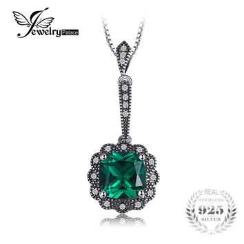 JewelryPalace 2.2ct Square Created Emerald 925 Sterling Silver Pendants For Women Vintage Jewelry Without a Chain