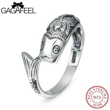GAGAFEEL Truly Sterling-Silver-Jewelry Fish Lotus Ring For Men With 2MM Punk Luxury Gift  Male