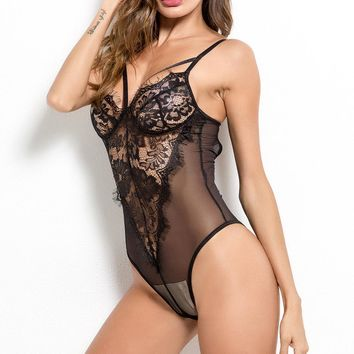 Lace Deep V Teddies Nightdress Lingerie