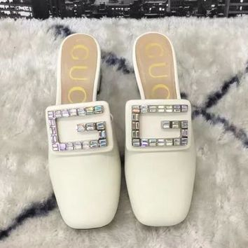 GUCCI Tide brand diamond buckle female models high-heeled Baotou thick with single shoes White