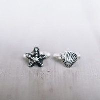 Little finger rings - seashell and starfish rings - knuckle rings - sterling silver ring - seashell jewelry, stacking rings, midi boho rings