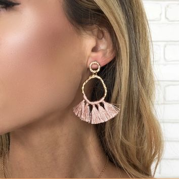 Marsala Pink Tassel Hoop Earrings