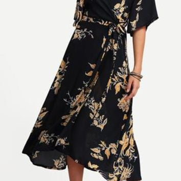 Amazing Grace Black White Orange Floral Short Sleeve Cross Wrap V Neck Midi Dress
