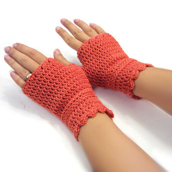Salmon wristwarmers, crocheted fingerless gloves, merino wool armwarmers, office gloves, warm wool mittens, lace driving gloves