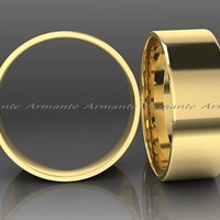 Yellow Gold Wide Mens Wedding Band Ring, 8.00mm