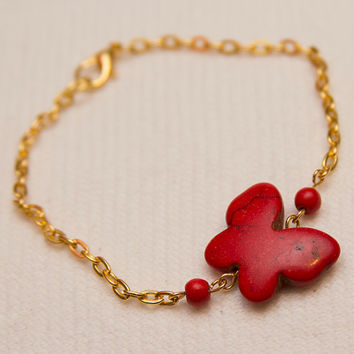 Red stone butterfly bead charm on goldplated chain bracelet boho hippie chic fashion style stackable layer bracelets