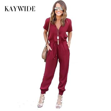 Kaywide 2018 Summer Sexy V Neck Pleated Waist Pocket Rompers Womens Jumpsuit Loose Cross Overalls Short Sleeve Playsuit S-XL