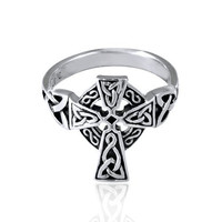 925 Oxidized Sterling Silver Antique Celtic Irish Cross Ring - Nickle Free Size 9