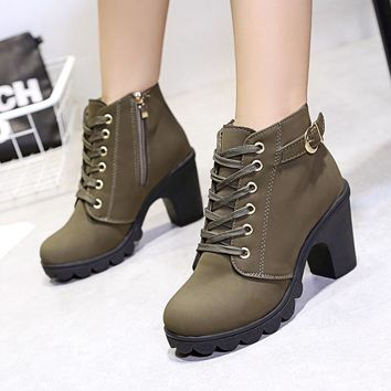 Women High Heel Boots Fashion Ankle Boots For Women Boots 2018 Winter Boots Female Autumn Thick With Square Heel Women booties