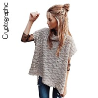 Cryptographic crochet turtleneck sweater women sleeveless split pullover 2017 autumn sexy knitted sweater tricot knitwear jumper