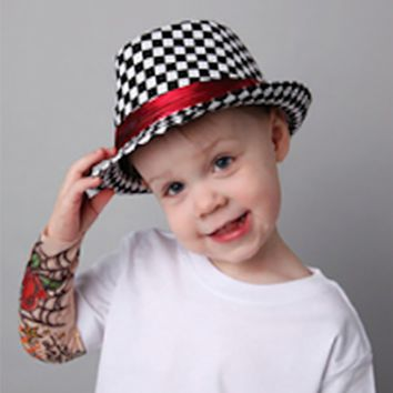 Black And White Small Checker Pattern Baby Prop Fedora Hat - CCHT113