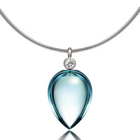 Blue topaz and diamond necklace made from white gold, briolette cut, unique, topaz pendant, nickel free, blue necklace, custom, tear drop