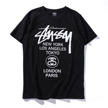 DCCKHQ6 Unisex Stussy Monogram Print Cotton T-Shirt Tee Top
