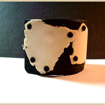 Cuff Bracelet 2 in. Cream Black Polymer Clay Industrial Modern Style Handcrafted One of a Kind Steam Punk