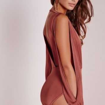 Solid V-Neck Cut Sleeve Bodysuit