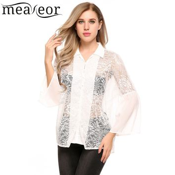 Casual Floral Lace Chiffon Loose Shirt Button-Down Flare Sleeve  Loose Tops