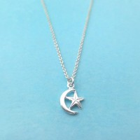 All sterlingsilver, moon and star, star and moon, silver necklace, sma