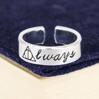 Deathly Hallows Always Ring - Harry Potter - Adjustable Aluminum Cuff Ring - Style B