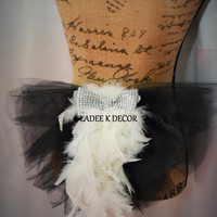 Bachelorette Party Bridal Feather BOA Bling Bow Booty Veil