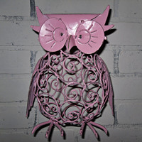 READY TO SHIP/ Shabby Chic Ornate Metal Owl / Owl Decor / Pink / Bright Decor / Owl Figurine / Shabby Chic Decor