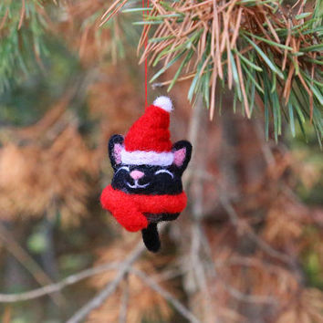 Needle Felted Cat, Christmas Cat, Christmas Ornaments, Christmas Decorations, Christmas Gifts, Tree Ornaments, Cat Lover Gift, Felt Kitty